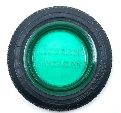 Goodrich Silvertowns Tire Ash Tray Depression Era Green - Teal Glass
