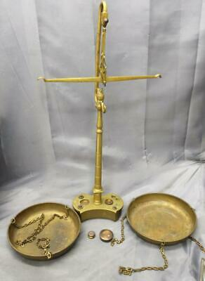 Old Antique Brass Balance Scale Weights Owl Signed Metal Trays Measuring Device