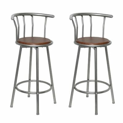 Set of 2 Bar Stools Breakfast Kitchen Bar Stool Barstools Wooden Seat Brown J5D4