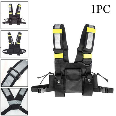 1X Holster Vest Rig Bag Pocket Radio Chest Harness Chest Front Pack Pouch Walkie