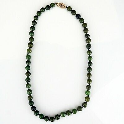 Vintage Chinese Natural Spinach Green Nephrite Jade Necklace Sterling Clasp