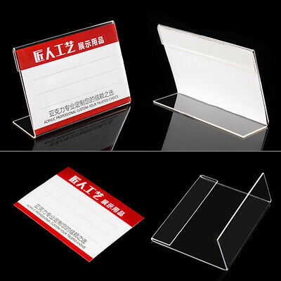 Acrylic Clear Desktop Sign Labels Display Holder Name Card Tag Stand Rack Newly