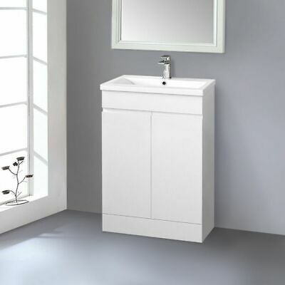 600mm Bathroom Vanity Unit Basin Sink Storage Floor Standing Cabinet Gloss White