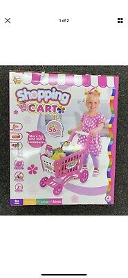 56pc Girl Shopping Trolley Roll Play Toy Supermarket Plastic Fruit Cart Gift Set