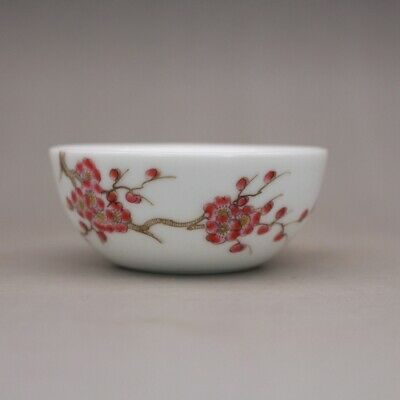 """Republic China famille rose Porcelain hand painting Plum blossom tea cup 3.1"""""""