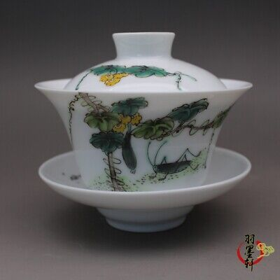 Republic China famille rose Porcelain hand painting Melon insect tea cup 3.6""