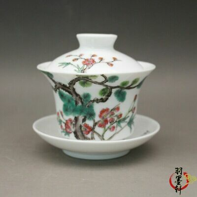 """Old Chinese famille rose Porcelain painting Pine bamboo Plum blossom cup 3.5"""""""