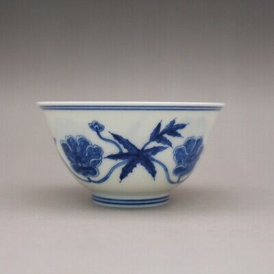 Chinese Chenghua marked Blue and whitePorcelain hand painting flower cup 3.5""