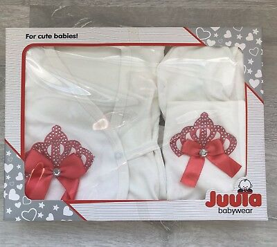 5 Piece Newborn Hospital Outfit Set Baby Girl Gift Set Coral Peach Crown Clothes