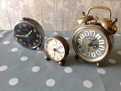 Antique Alarm Clock Looping 15 Jewel Working + Cyma & Estyma For Repair Spares.