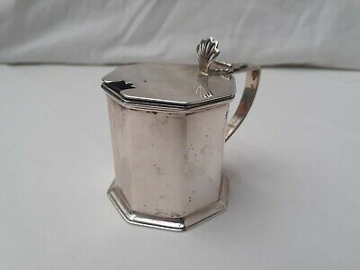 Edwardian heavy silver mustard pot. Chester 1907.