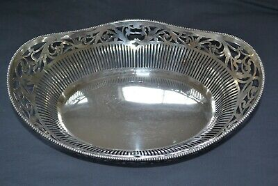 Large Silver Reticulated Bread Basket Netherlands 1942 No Mono!