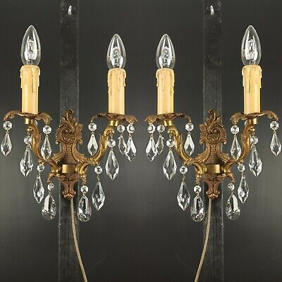 Gorgeous PAIR of Antique French Rococo Brass 2 Arm Crystal Wall Lights Sconces