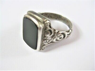 Antique Seal Ring Real Silver with Onyx, 6,58 G