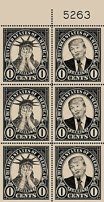 Trump - Liberty / Lunacy - Booklet Pane style (Artistamp, Faux Postage, REPRO)
