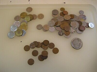 Wheat Cents - Foreigh Coins - Tokens Junk Drawer Lot  B1685