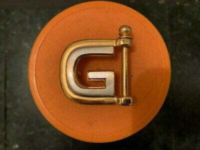 Rare Authentic Vintage 70's Gucci Two Tone G Belt Buckle made in Italy
