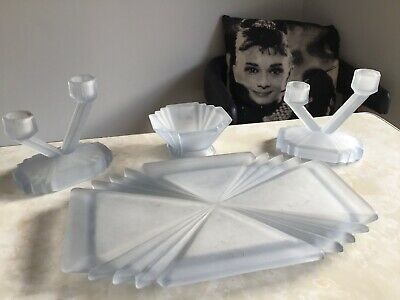 Art Deco Stunning Candle Sticks - Part Of Frosted Blue Glass Dressing Table Set