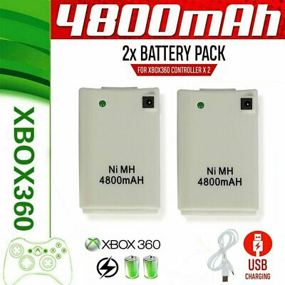 2pc For Xbox 360 Wireless Controller Rechargeable Battery Pack USB Charger Cable
