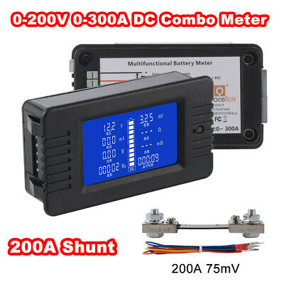 LCD Display DC Battery Monitor Meter 0-200V Voltmeter Ammeter 200A Shunt BI1342
