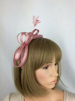 Dusky Blush Pink Fascinator Light Pink Wedding Bow Occasion Mother Bride Races