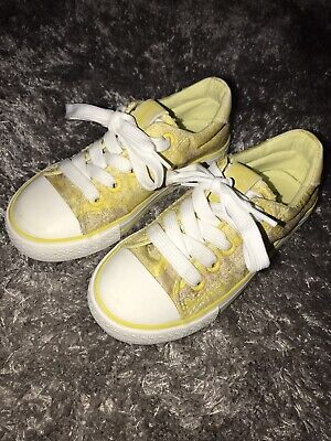Chika 10 Kids Yellow Silver Converse Style Trainers Size 10.5