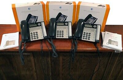 Lot of 3 AT&T 1080 4-Line Small Business System Corded Phone & Power Cords