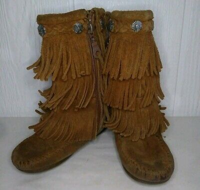 Minnetonka 3 Layer Fringe Booties Brown Suede Leather Boys Girls Kids Size 9