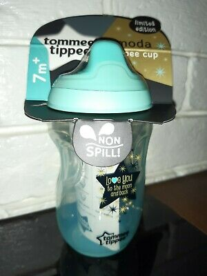 "Tommee Tippee Ltd Edition /""Love You To The Moon /& Back/"" Sippy Cup 7m Blue//Pink"
