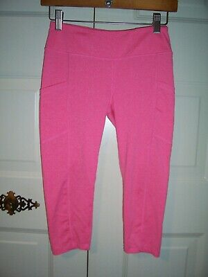 Everlast  sport girl's pink cropped leggings 2 pockets wide waist size 10-12