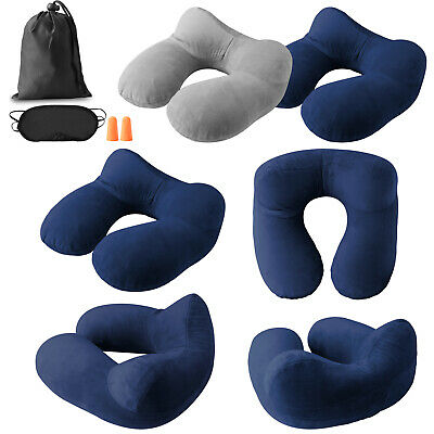 Inflatable Travel Velvet Air Pillow Airplane Office Nap Cushion Neck Head Rest