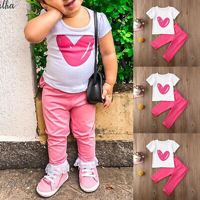 Toddler Kids Baby Girls Summer Outfits Clothes T-shirt Tops+Long Pants 2PCS Set