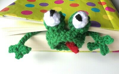 Crochet Bookmark Green Frog Funny bookmark