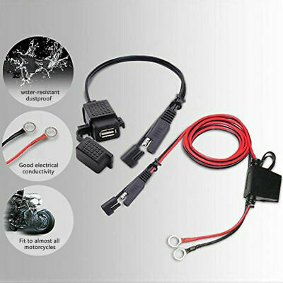 Motorcycle 12V SAE to USB Phone GPS Charger Cable Adapter Plug Inline Fuse Kit #
