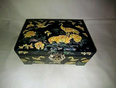 Jewelry Box Black Lacquer Inlaid with Mother of Pearl, Mirror and Original Box