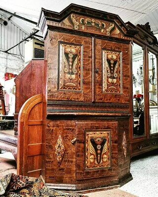 A Large And Beautiful Authentic Swedish Dalarna Dresser In Kerbits Style 1802