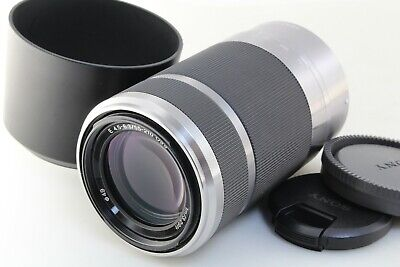 Excellent++ SONY E 55-210mm F/4.5-6.3 OSS silver lens w/ hood