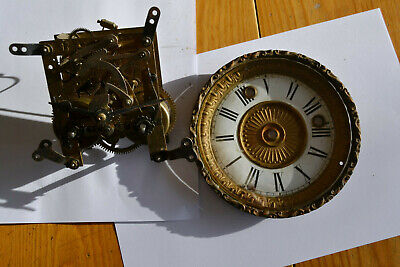 Vintage Mantel Clock Movement and clock face for spares or repairs
