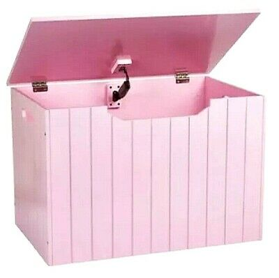 Panelled Wooden Toy Chest Bench Box Storage Unit Pink Already Personalised