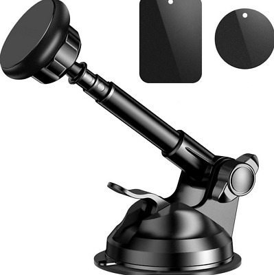 Car Phone Holder 360° Rotating Suction Cup Telescopic Magnetic Alloy Mount