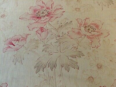 Antique / Vintage French Printed Cotton  Fabric 1900 Shabby Chic Pink Poppy