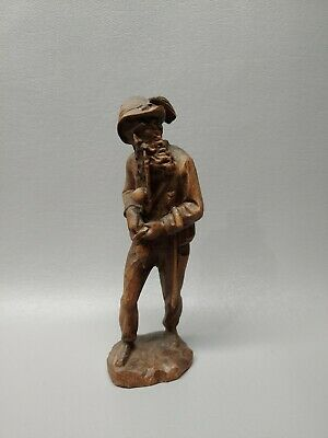 Handcarved wooden wood old man with pipe statue very detailed 6 1/2""