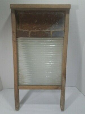 Vintage Washboard Soap Saver Glass Wood National Washboard Co. No. 190 There