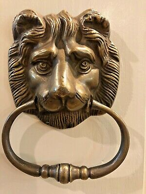 "Brass Lion Head Door Knocker, Towel Ring  6-1/2""  x 4 3/4"""