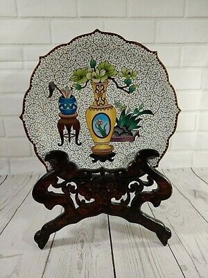 Vintage Chinese Cloisonne Enamel Scalloped Edge/Rim Plate with Carved Wood Stand