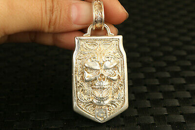 cool old chinese tibet silver skull statue pendant netsuke collectable gift