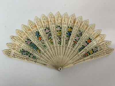 Antique Fan  early 19th century carved bone Brise   Ribbon hand painted