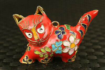 china old cloisonne Hand painted red cat Statue collectable Hand pieces Pendant