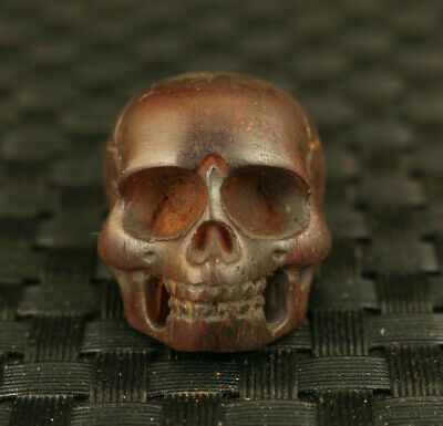 old chinese yak horn hand carving skull statue collectable cool pendant gift
