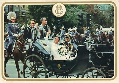KING CARL XVI GUSTAF AND QUEEN SILVIA of SWEDEN WEDDING POSTCARD -VERY GOOD USED
